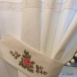 """Винтажные льняные шторы с вышивкой """"Бутоны роз"""""""