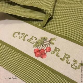 """Кухонное винтажное полотенце """"Вишня-1"""""""