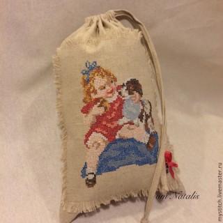 """Винтажный льняной мешочек для детей """"Сначала ты, потом я"""""""