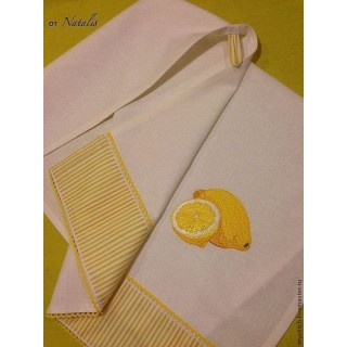 """Кухонное полотенце из льна """"Лимоны -2"""""""